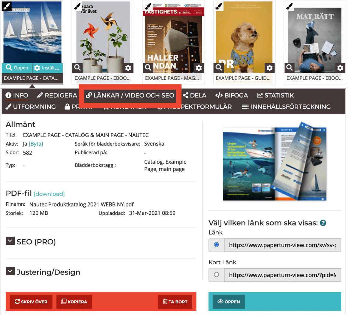 Bild av blädderbokens dashboard med länkar/video och menyalternativ för SEO.